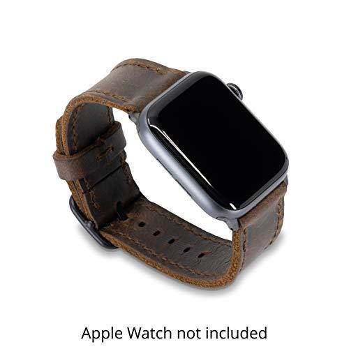 Arrow & Board Porter - Espresso Dark Brown - Full Grain Leather Replacement Band Compatible With Apple Watch (Space Gray, 42/44Mm)