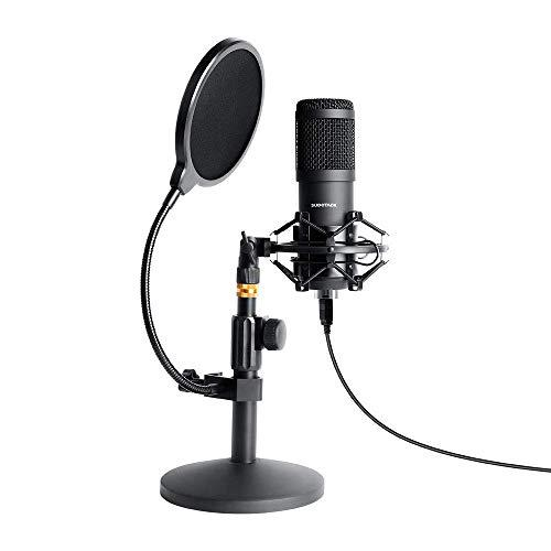 Usb Streaming Podcast Pc Microphone, Sudotack Professional 192Khz/24Bit Studio Cardioid Condenser Mic Kit With Sound Card Desktop Stand Shock Mount Pop Filter, For Skype Youtuber Gaming Recording
