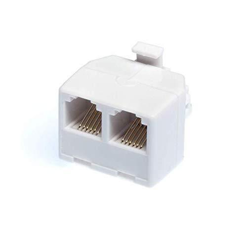 The Cimple Co - Duplex Jack Phone Wall Adapter - 2-Way Phone Splitter (Line 1&Amp;2, Line 1&Amp;2) - Wall Jack Phone Rj11 Adapter - 4 Conductor Connector (2 Phone Lines) - White, 1 Pack