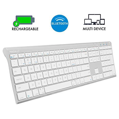 Macally Wireless Bluetooth Keyboard With Numeric Keypad For Laptops, Computers (Apple: Mac, Imac, Macbook Pro/Air, Ios, Iphone, Ipad, Windows: Pc And Android), Smartphones, tablet (Aluminum Silver)