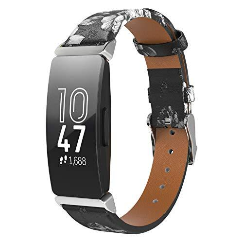 Timovo Band Replacement Compatible With Fitbit Inspire/Inspire Hr, Printing Floral Band Leather Strap For Women Soft Sport Wrist Bands Fit Fitbit Inspire/Inspire Hr - Black & White