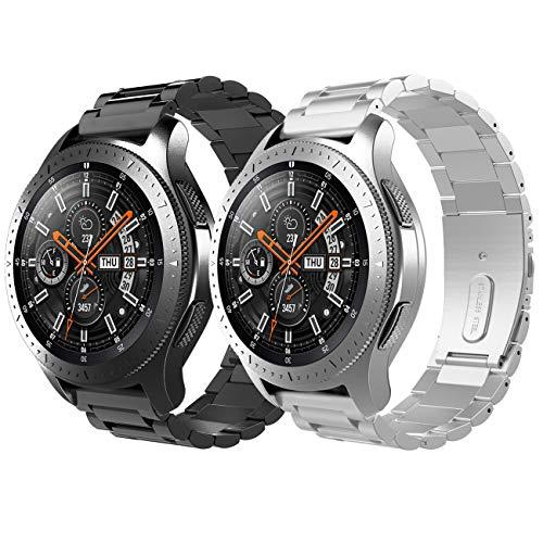 Timovo Band Replacement Compatible With Galaxy Watch 46Mm/Gear S3 Classic/Gear S3 Frontier, [2-Pack] Premium Stainless Steel Replacement Metal Band Bracelet Strap For Men Women - Black + Silver