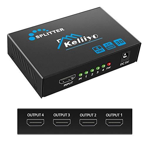 Keliiyo Hdmi Splitter 1 In 4 Out - 4K Hdmi Splitter 1X4 Ports(Upgrade) Powered Hdmi Splitter Supports 3D 4K@30Hz 1080P For Xbox Ps4 Ps3 Fire Stick Roku Blu-Ray Player (1 Input 4 Outputs)