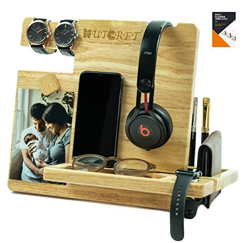Wutcrft - Wood Docking Station/Nightstand Organizer For Multiple Devices With Headphone Stand, Smart Watch Charging Slot, Photo Holder, And Accessory Holder, Perfect For Desk Organizer Or Gift Giving