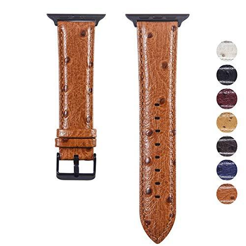 Yochyi Watch Strap, Stereoscopic Spot Ostrich Skin Genuine Leather Replacement Band 38Mm 40Mm 42Mm 44Mm Compatible With Apple Watch Series 4 3 2 1 (Brown, 38Mm)