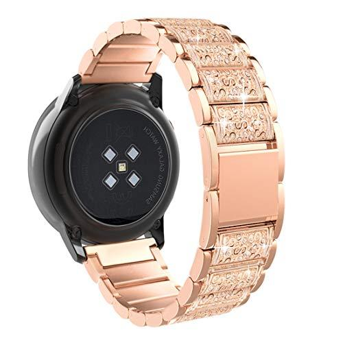 Timovo Band Replacement Compatible With Galaxy Watch 42Mm/Gear S2 Classic/Galaxy Watch Active/Active 2/Forerunner 245/Vivoactive 3, 20Mm Diamond Enchased Stainless Steel Watch Strap - Rose Gold