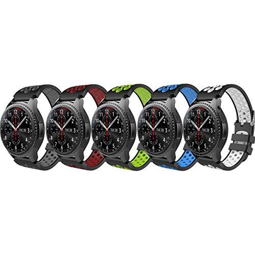 Timovo Band Compatible With Samsung Gear S3/Galaxy Watch 46Mm, [5-Pack] Perforated Silicone Replacement Strap Fit Gear S3 Frontier, S3 Classic, Moto 360 2Nd Gen 46Mm Smart Watch, Multi Color A