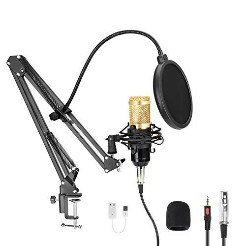 Usb Streaming Podcast Pc Microphone, Mayoga 192Khz/24Bit Cardioid Streaming Microphone Pc Mic Kit With Sound Card Boom Arm Shock Mount Pop Filter For Youtuber, Karaoke, Gaming, Podcasting