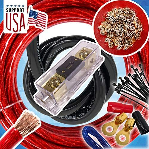 Audio360 Usa 0 Gauge Cable 5000W Hot Car Amplifier Installation Power Amp Wiring Kit 1/0 Ga Red For Car Stereo