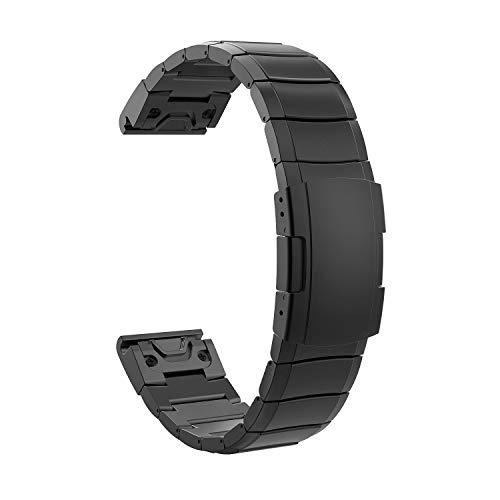 Timovo Replacement Band Compatible With Garmin Fenix 5/5 Plus/Fenix 6/Forerunner 935/945, 22Mm Premium Stainless Steel Quick Release Watch Band Fit Fenix 5/5 Plus/Fenix 6/Forerunner 935/945 - Black