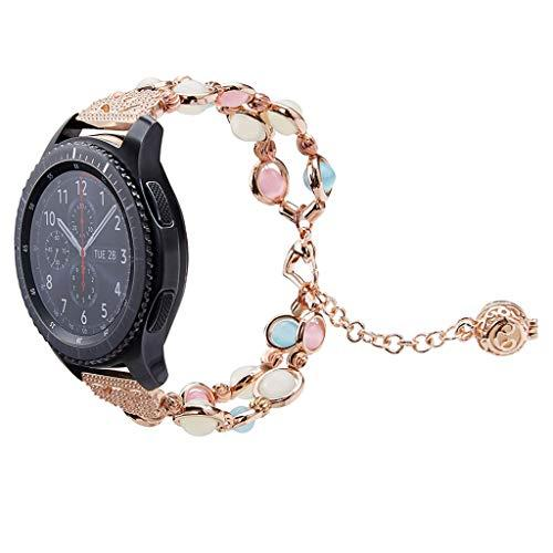 Wristband Handmade Bracelet Band Strap Replacement For Samsung Galaxy Watch 46Mm Adjustable Crystal Pearl Night Luminous, Astvshop Essential Oil Perfume Pendant Girls 22Mm (Wide: 22Mm, Rose Gold)