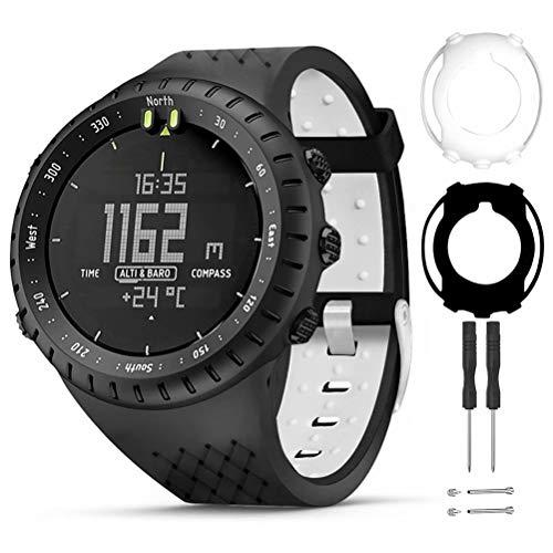 T-Bluer Watch Band Compatible For Suunto Core,Silicone Replacement Strap Bracelet Accessory And Full Cover Protector Case For Suunto Core Smart Watch,Black White