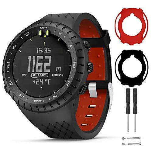 T-Bluer Watch Band Compatible For Suunto Core,Silicone Replacement Strap Bracelet Accessory And Full Cover Protector Case For Suunto Core Smart Watch,Black Red