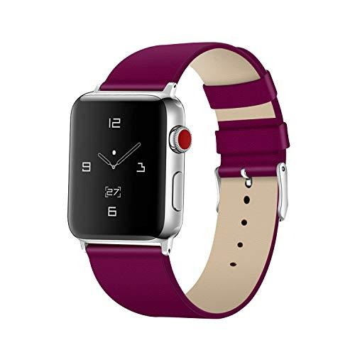 Tohsssik Leather Bands For Apple Watch Band 38Mm 40Mm Men & Women Sport Genuine Leather Strap Replacement Band Compatible For Iwatch Series 5 4 3 2 1, Purple