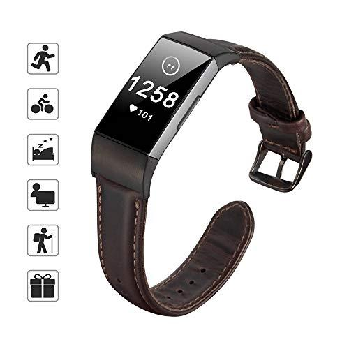 Tomall Leather Bands Compatible For Fitbit Charge 3, Genuine Leather Strap Replacement Wristband Straps For Women Men (Coffee)