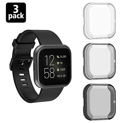 Timovo Screen Protector Compatible With Fitbit Versa 2, [3-Pack] Soft Full Body Coverage Tpu Protective Case, Scratch-Proof Watch Screen Cover Fit Fitbit Versa 2 Smart Watch - Black & Gray & White