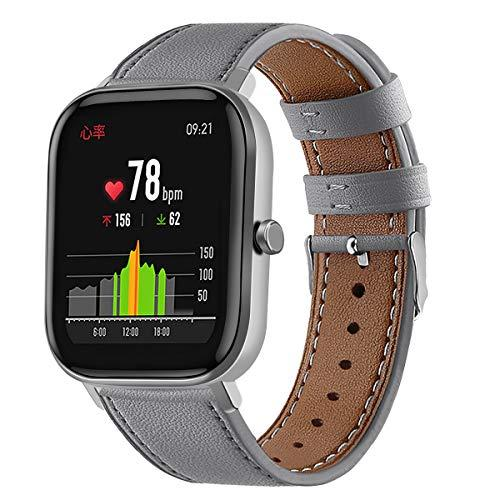 Turnwin Leather Watchband Compatible With Huami Amazfit Gts & Amazfit Gtr 42Mm Smart Watch Genuine Leather Replacement 20Mm Sport Wrist Strap Bracelet With Stainless Metal Buckle (Gray)
