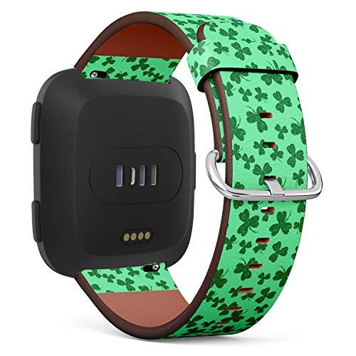 Compatible With Fitbit Versa/Versa 2 / Versa Lite - Quick Release Leather Wristband Bracelet Replacement Accessory Band - Saint Patricks Day