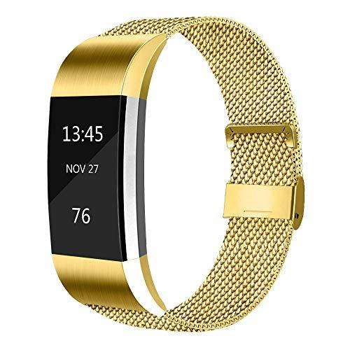 Gz Gzhisy Compatible With Fitbit Charge 2 Band,Premium Metal Magnetic Strap Bracelet With Unique,For Stainless Steel Metal Replacement Wristband For Women Men Fitbit Charge 2 (Gold Small)