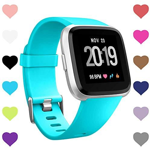 Creategreat Bands Compatible With Fitbit Versa, Silicone Adjustable Replacement Wristband For Fitbit Versa Smart Watch Heart Rate Fitness Wristband Small Large (Mint Green, Small)