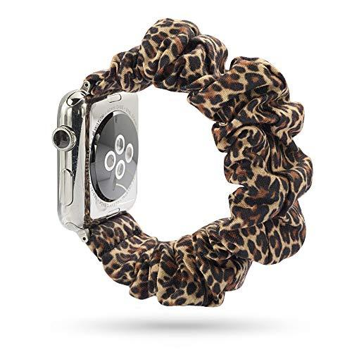 Wonmille Scrunchie Elastic Wrist Bracelet For Apple Watch Band 38Mm/40Mm, Fancy Elastic Hair Wristbands Replacement For Iwatch Series 5/4/3/2/1 Women Girls (Leopard, 38Mm/40Mm)