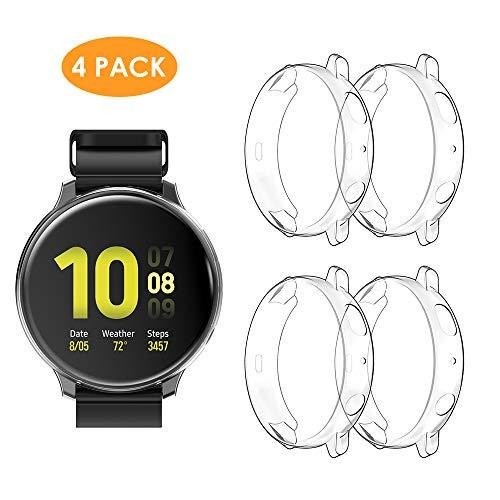 Wd&Cd (4 Pack) Case Compatible With Samsung Galaxy Watch Active 2 44Mm, Screen Protector Heavy-Duty Full Around Soft Tpu Anti-Scratch Smartwatch Protective Cover - Transparent