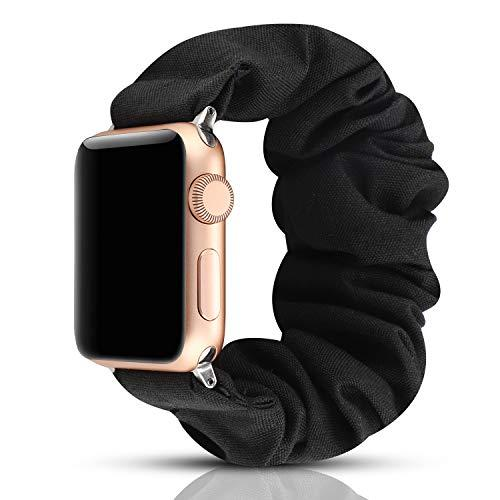 Yoswan Scrunchie Elastic Watch Band Compatible For Apple Watch Band 38Mm 42Mm Women Girls Cloth Hair Rubber Band Strap Bracelet For Iwatch Series 5 4 3 2 1 (Black, 42Mm/44Mm)