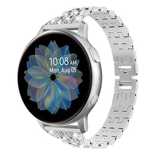 Timovo Universal 20Mm Watch Band Compatible With Galaxy Watch Active/Active 2, Slim Alloy Watch Strap With Shining Rhinestones Fit Galaxy Watch 42Mm/Gear Sport/Garmin Vivomove/Hr/Vivoactive 3 - Silver