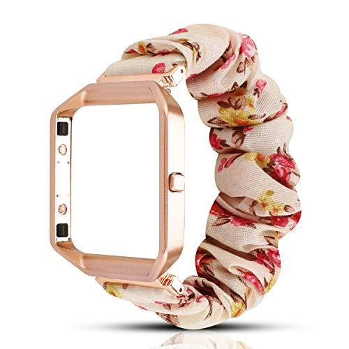 Yoswan Scrunchie Elastic Band Compatible For Fitbit Blaze Smartwatch Fitness,Clothing Wrist Strap With Metal Frame Replacement For Fitbit Blaze Men Women (White Pink Flower)