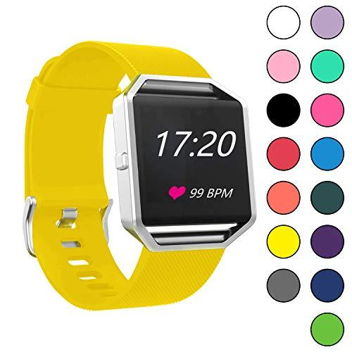 Viniki Sport Waterproof Watch Bands Compatible With Fitbit Blaze Smart Watch Small And Small Size For Women/Men (Yellow, Small)
