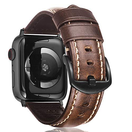 Creategreat Leather Bands Compatible With Apple Watch 42Mm 44Mm, Handcrafted Italian Vintage Leather Strap Replacement Compatible With Iwatch Series 5,4,3,2,1, Sports & Edition - Coffee