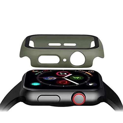 Hontao Matte Hard Pc Case Bumper With Tempered Glass Screen Protector Compatible With Apple Watch 38Mm 40Mm 42Mm 44Mm For Iwatch Series 5/4/3/2/1 (Khaki, 42Mm)