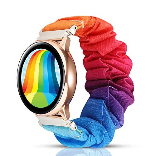 Wonmille 20Mm Scrunchie Watch Band For Samsung Galaxy Watch 42Mm, Cute Fabric Elastic Wristband Replacement Compatible With Samsung Active/Active 2 (Rainbow)