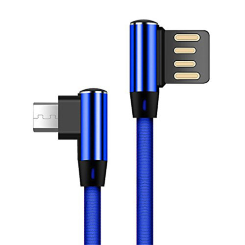 2M Double Elbow L Shaped 90 Degree Micro Usb Fast Charging Data Transmission Cable For Phone Blue