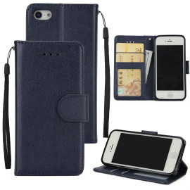 Ultra Slim Pu Full Protective Cover Non-Slip Shockproof Cell Phone Case With Card Slot For Iphone 5G/5S/5Se Blue