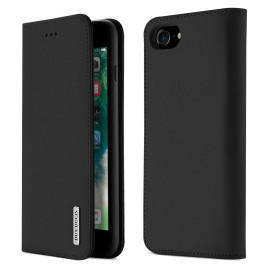 Dux Ducis For Iphone 7/8 Luxury Genuine Leather Magnetic Flip Cover Full Protective Case With Bracket Card Slot Black