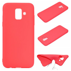 For Samsung A6 2018 Lovely Candy Color Matte Tpu Anti-Scratch Non-Slip Protective Cover Back Case Red