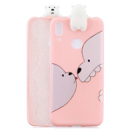 For Huawei Y6 2019 3D Cartoon Lovely Coloured Painted Soft Tpu Back Cover Non-Slip Shockproof Full Protective Case Big White Bear