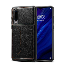 For Samsung A50 Retro Pu Leather Wallet Card Holder Stand Non-Slip Shockproof Cell Phone Case Black