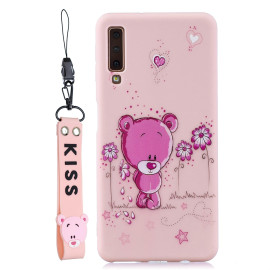 For Samsung A7 2018 Cartoon Lovely Coloured Painted Soft Tpu Back Cover Non-Slip Shockproof Full Protective Case With Lanyard Light Pink