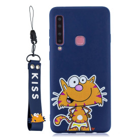For Samsung A9 2018 Cartoon Lovely Coloured Painted Soft Tpu Back Cover Non-Slip Shockproof Full Protective Case With Lanyard Sapphire