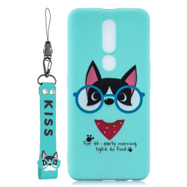 For Oppo F11 Pro Cartoon Lovely Coloured Painted Soft Tpu Back Cover Non-Slip Shockproof Full Protective Case With Lanyard Light Blue