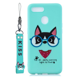 For Oppo A7 Cartoon Lovely Coloured Painted Soft Tpu Back Cover Non-Slip Shockproof Full Protective Case With Lanyard Light Blue