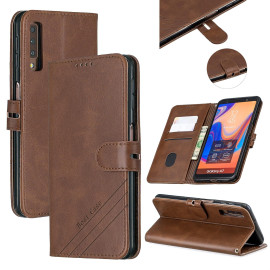 For Samsung A7 2018 Denim Pattern Solid Color Flip Wallet Pu Leather Protective Phone Case With Buckle & Bracket Brown