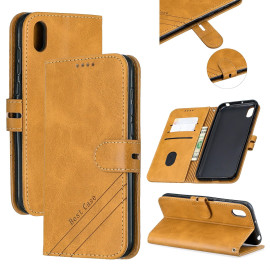 For Huawei Y5 2019 Denim Pattern Solid Color Flip Wallet Pu Leather Protective Phone Case With Buckle & Bracket Yellow