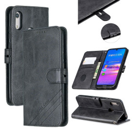 For Huawei Y6 2019 Denim Pattern Solid Color Flip Wallet Pu Leather Protective Phone Case With Buckle & Bracket Black