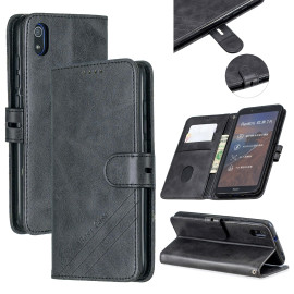 For Redmi 7A Denim Pattern Solid Color Flip Wallet Pu Leather Protective Phone Case With Buckle & Bracket Black