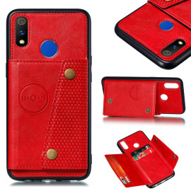 For Oppo Realme 3 Pu Leather Flip Stand Shockproof Cell Phone Cover Double Buckle Anti-Dust Case With Card Slots Pocket Red
