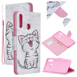 For Samsung A10S/A20S Smartphone Case Pu Leather Phone Shell Lovely Cartoon Pattern Card Slots Overall Protection Red Lip Cat