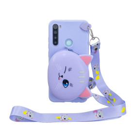 For Redmi Note 8/8T/8 Pro Cellphone Case Mobile Phone Shell Shockproof Tpu Cover With Cartoon Cat Pig Panda Coin Purse Lovely Shoulder Starp Purple